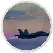 F/a -18 Super Hornet, Dusk, Afterburner Round Beach Towel