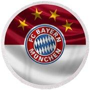 F C Bayern Munich - 3 D Badge Over Flag Round Beach Towel