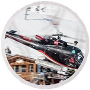 F-gsdg Eurocopter As350 Helicopter Courchevel Round Beach Towel