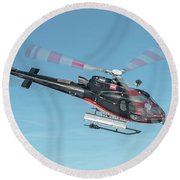 F-gsdg Eurocopter As350 Helicopter In Blue Sky  Round Beach Towel