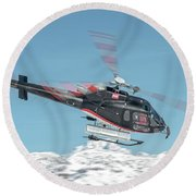 F-gsdg Eurocopter As350 Helicopter Over Mountain Round Beach Towel