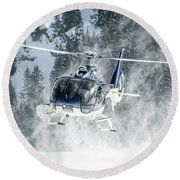 F-hana Eurocopter Ec-130 Landing Helicopter At Courchevel Round Beach Towel