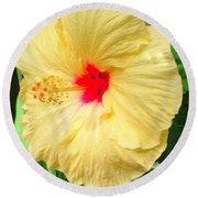 F12 Yellow Hibiscus Round Beach Towel