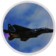 F15 Eagle In Afterburner Round Beach Towel