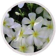 F2 Plumeria Frangipani Flowers Hawaii Round Beach Towel