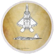 F22 Raptor Blueprint Round Beach Towel