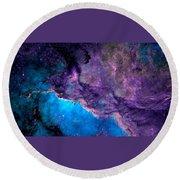 Purple Nebula Round Beach Towel