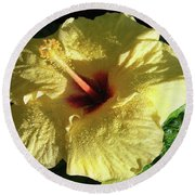 F9 Yellow Hibiscus Round Beach Towel