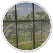 Prison Yard With Razor Wire, Guard House And Satellite Dish Round Beach Towel