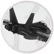 Fa-18 In Black And White Round Beach Towel