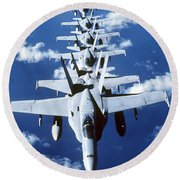 Fa-18c Hornet Aircraft Fly In Formation Round Beach Towel