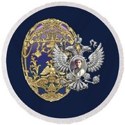 Faberge Tsarevich Egg With Surprise On Blue Velvet Round Beach Towel
