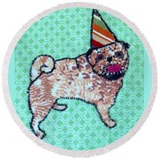 Fabric Pug Round Beach Towel