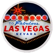 Fabulous Las Vegas Sign Round Beach Towel