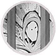 Face In Space B G Round Beach Towel