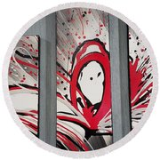 Face In Space I I Round Beach Towel