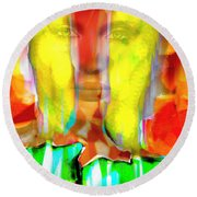 Face In The Flames Round Beach Towel