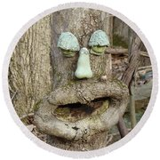 Face In The Woods Round Beach Towel