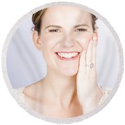 Face Of A Smiling Bride With Perfect Makeup Round Beach Towel