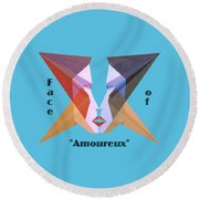 Face Of Amoureux Text Round Beach Towel