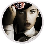Face Of Dark Fashion Round Beach Towel