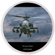 Face Of Death Ah-64 Apache Helicopter Round Beach Towel by Randy Steele