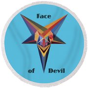 Face Of Devil Text Round Beach Towel