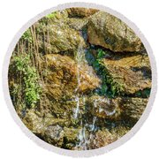 Face Of The Mountain Stream Round Beach Towel