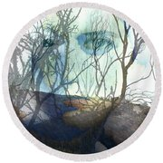 Face Of Winter Round Beach Towel