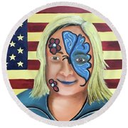 Face Paint And Freedom Round Beach Towel
