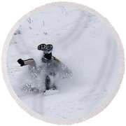 Face Plant In The Snow Round Beach Towel