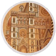 Faced Of Florence Cathedral  Round Beach Towel