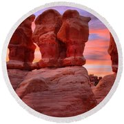 Faces And Fire Round Beach Towel