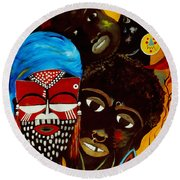 Faces Of Africa Round Beach Towel