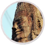 Faces Of The Bayon Temple - Siem Reap, Cambodia Round Beach Towel