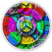 Faces Of Time 1 Round Beach Towel