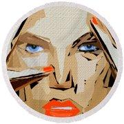 Facial Expressions Xix Round Beach Towel