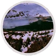 Facinating American Landscape   Snow Mountains Mini Lakes Winter Storms Welcome Trips To Nature Round Beach Towel