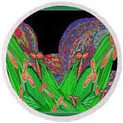 Facination For Cactus Plants And  Flower Round Beach Towel