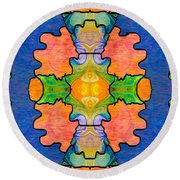 Facing Realities Abstract Hard Candy Art By Omashte Round Beach Towel