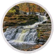 Factory Falls - Childs State Park Round Beach Towel