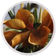 Faded Beauty - Flower - Magnolia Round Beach Towel