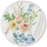 Faded Glory Chinoiserie - Floral Still Life 2 Blush Gold Cream Round Beach Towel