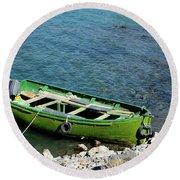 Faded Green Yellow Motor Power Boat Parked At Satpara Lake Pakistan Round Beach Towel