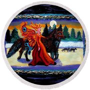 Faerie And Wolf Round Beach Towel by Genevieve Esson