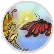 Faerie N Butterfly Round Beach Towel