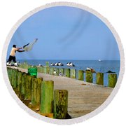 Fairhope Fisherman With Cast Net Round Beach Towel