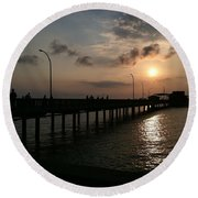 Fairhope Pier At Dusk Round Beach Towel