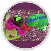 Fairies And Dragons Round Beach Towel