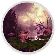 Fairies At A Pond Round Beach Towel